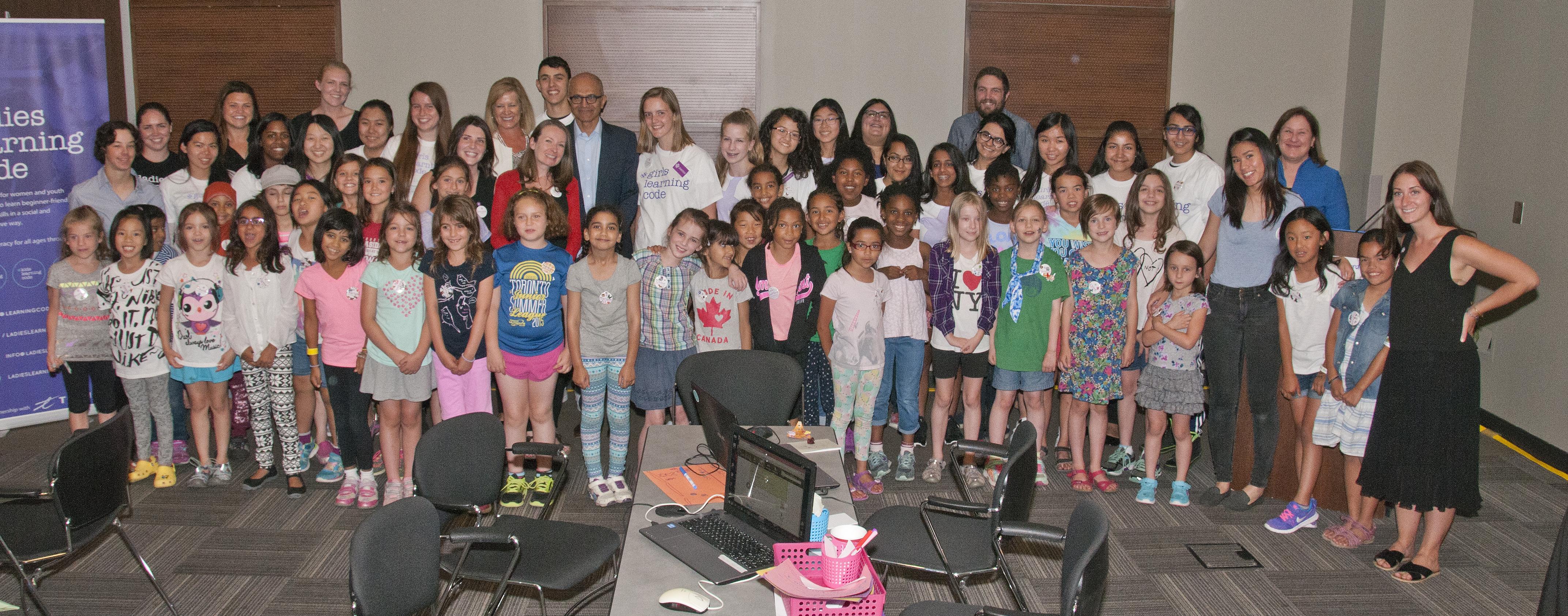 Microsoft Global CEO Satya Nadella visits Girls Learning Code camp!