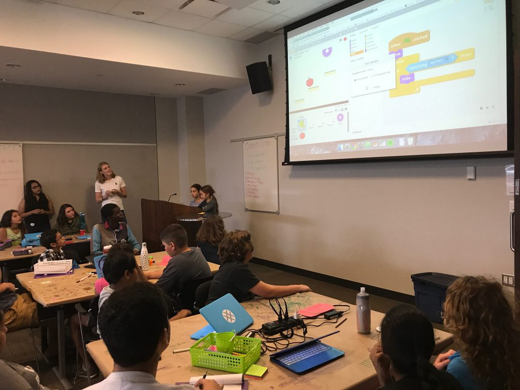 Campers showing us their Scratch game