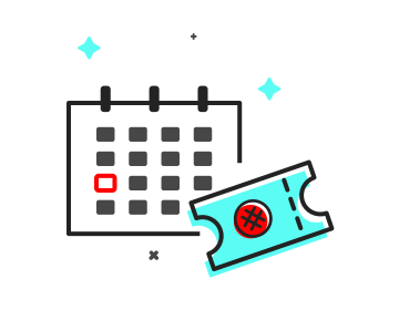 icon of calendar and ticket