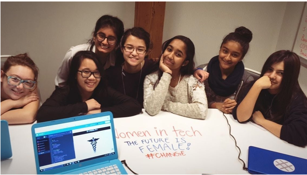 Girls working on a women in tech project