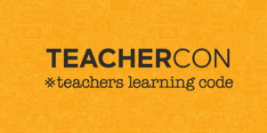 yellow logo for teachers learning code for Teacher Con
