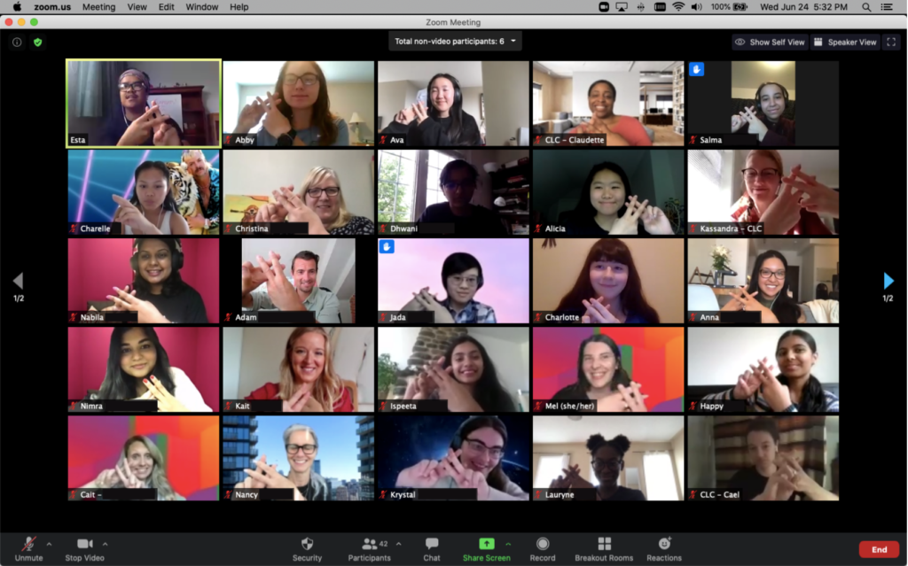 Screenshot of a Zoom group call