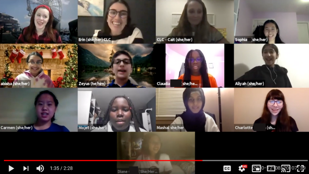 Screenshoot of CLC Week Teen Ambassadors on a Zoom Call