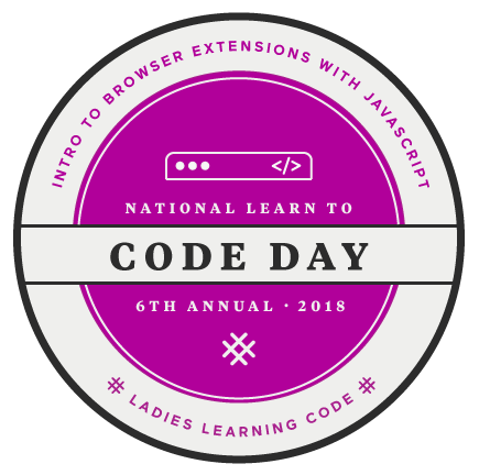 pink, logo for National Learn to code day. Intro to browser extensions with javascript