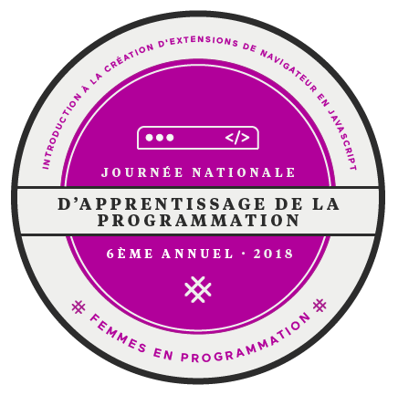 pink, round logo in french for national day of learning for creating browser extensions with javascript