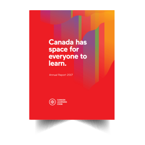 cover page of Title: Canada has space for everyone to learn. Annual Report 2017 on the bottom is the logo for Canada Learning Code