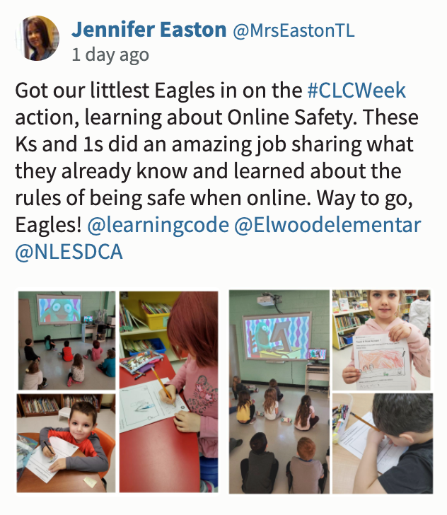 """Screenshot of CLC tweet saying: """"Got our littlest Eagles in on the #CLCWeek action, learning about Online Safety. These Ks and 1s did an amazing job sharing what they already know and learned about the rules of being safe when online. Way to go, Eagles! """""""