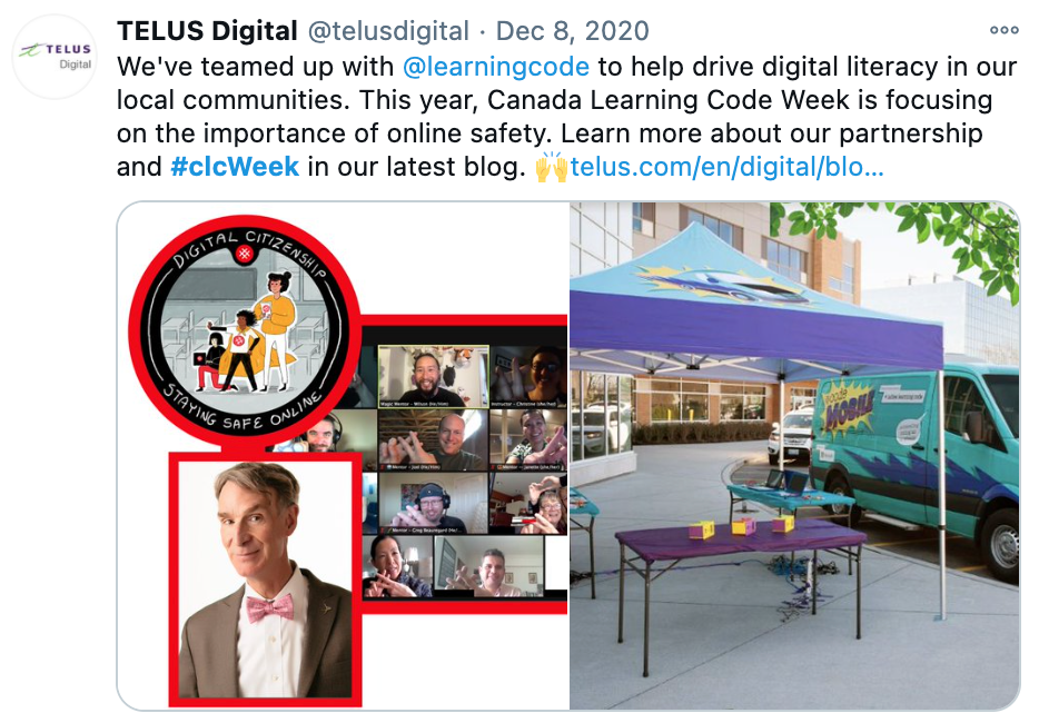 """Screenshot of CLC tweet by Telus Digital, saying: """"We've teamed up with @learningcode to help drive digital literacy in our local communities. This year, Canada Learning Code Week is focused on importance of online safety. Learn more about our partnership and #clcWeek in our latest blog. *link to the blog*"""""""