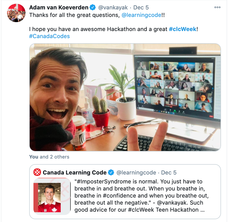 """Screenshot of CLC tweet by Adam Van Koeverden, saying: """"Thanks for all great questions, @learningcode! I hope you have an awesome Hackaton and great #clcWeek!"""""""