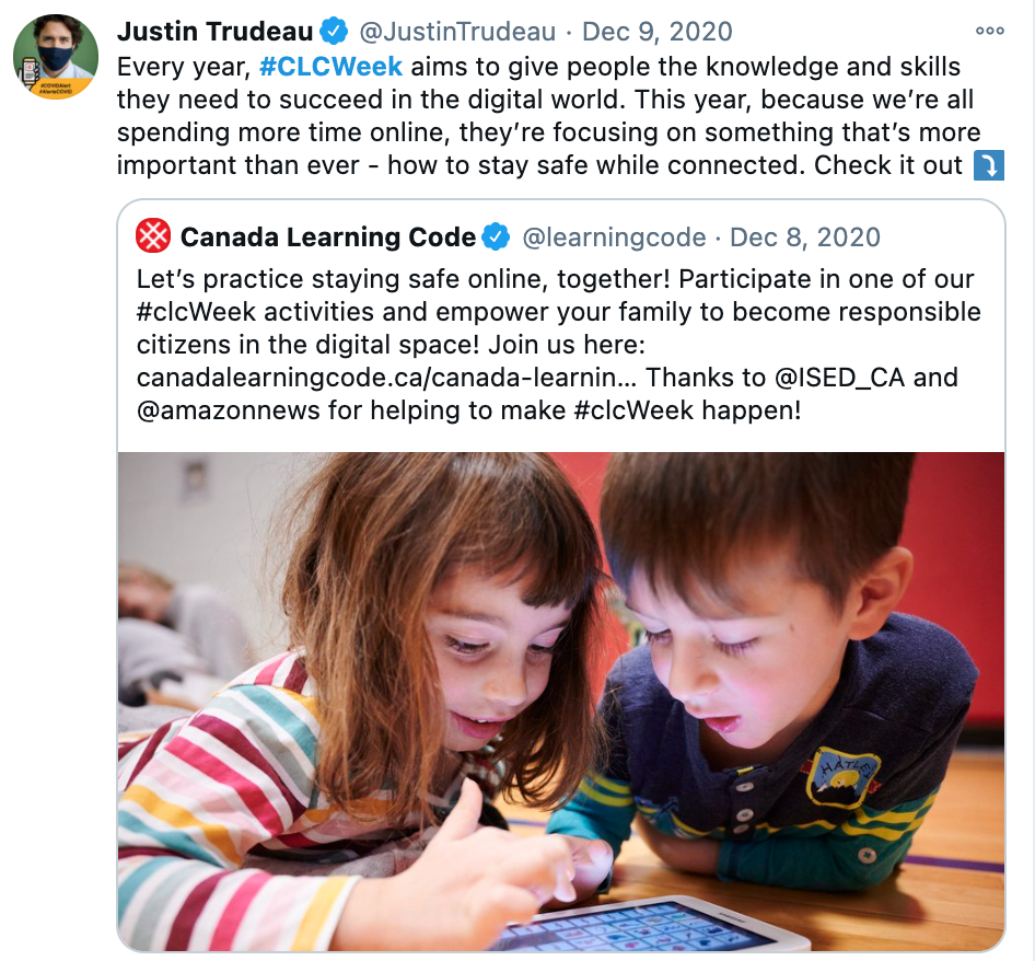 """Screenshot of CLC tweet by Justin Trudeau, saying: """"Every year, #CLCWeek aims to give people the knowledge and skills they need to succeed in the digital world. This year, because we're all spending more time online, they're focusing on. something that's more important. than ever - how to stay safe while connected. Check it out."""""""